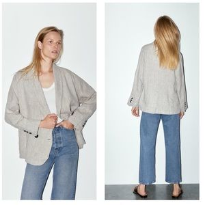 ZARA Taupe Buttoned Double Breasted Linen Blazer